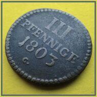 1803 3 pfennige réz érme