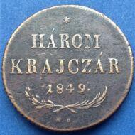 1849 3 Krajczár réz érme (Három krajcár)