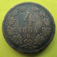 1864 4 krajcár réz érme B verdejel