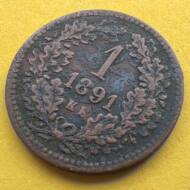 1891 1 krajcár KB réz érme