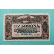 1920 10 korona hajtatlan bankjegy Numizmatika - bankjegyek