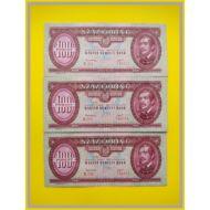 1949 100 forint 3 db-os sorszámkövető bankjegy