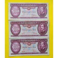 1960 100 forint 3 db sorszámkövető extra fine bankjegy