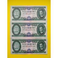1962 10 forint bankjegy 3 db sorszámkövető