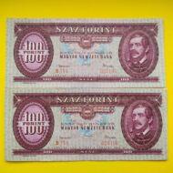 1962 100 forint sorszámkövető bankjegy pár