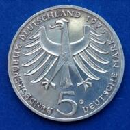 1975 NSZK ezüst emlék 5 márka érme G verdejel Albert Schweitzer