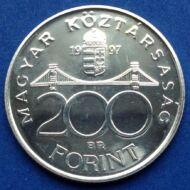 1997 200 forint BU ezüst érme UNC. Ritka! 7000 vert darab!