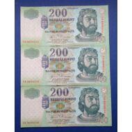2004 200 forint FB 3 db sorszámkövető aUNC-UNC bankjegy