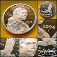 2004 vagy 2006 UNC Sacagawea 1 dollar PP tükörveret érme S verdejel Proof kivitel
