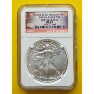 2014 Silver  Eagle 1 Dollar 1 Uncia színezüst érme NGC tokban MS 69 érme minősítéssel
