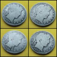 1900-1908 Barber Half Dollar 4 db-os ezüst érme sor anyag áron