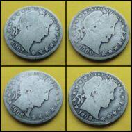 1900-1908 Barber Half Dollar 4 db-os ezüst érme sor