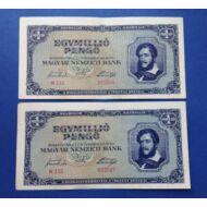 1945 1 millió Pengő 2 db sorszámkövető XF bankjegy