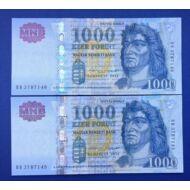 2015 1000 forint sorszámkövető aUNC bankjegy pár Numizmatika - bankjegyek
