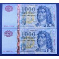 2007 1000 forint DC sorszámkövető Extra fine bankjegy pár. Piros sorszám.