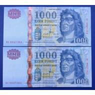2007 1000 forint DC sorszámkövető Extra fine bankjegy pár. Piros sorszám. Numizmatika - bankjegyek