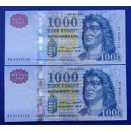 2015 1000 forint sorszámkövető Extra fine bankjegy pár Numizmatika - bankjegyek