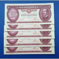 1975 100 forint 5 darab UNC sorszámkövető bankjegy