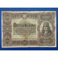 1920 5000 korona bankjegy Numizmatika - bankjegyek