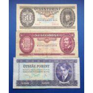 1975-1989 50-100-500 3 darabos forint bankjegy sor