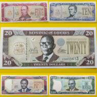 2003-2011 Libéria 5-10-20-50-100 dollar UNC bankjegy sor. 5 db egyben!