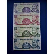 1991 NIcaragua 1-5-10-25 centavos UNC bankjegy sor