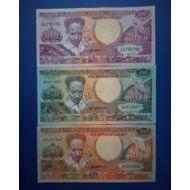 1988 Suriname 100-250-500 Gulden UNC bankjegy sor. 3 db egyben