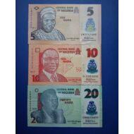2018 Nigéria 5-10-20 Naira UNC bankjegy sor. 3 db egyben