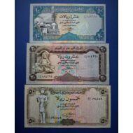 1990-1993 Jemen 10-20-50 Rial UNC bankjegy sor. 3 db egyben