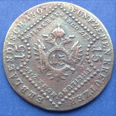 1807 15 Krajcár réz érme I. Ferenc Ausztria