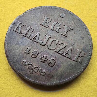 1848 1 krajcár réz érme XF