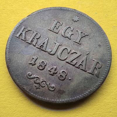 1848 1 krajcár réz érme XF Numizmatika - Érmék, érme