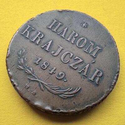 1849 3 krajcár réz érme