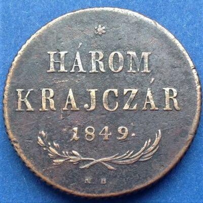 1849 3 Krajczár réz érme