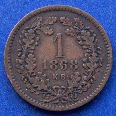 1868 1 krajcár réz érme, angyalos Körmöcbányai veret