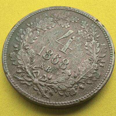 1868 4 krajcár réz érme angyalos K.B.