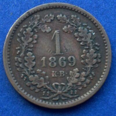 1869 1 krajcár réz érme, angyalos Körmöcbányai veret