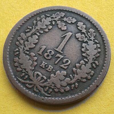 1872 1 krajcár réz érme, angyalos Körmöcbányai veret