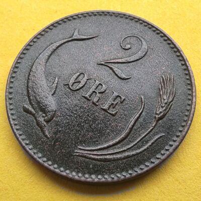 1874 2 Öre Svéd réz érme