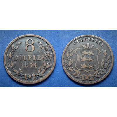 1874 Guernesey 8 Doubles érme