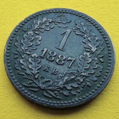1887 1 krajcár KB réz érme