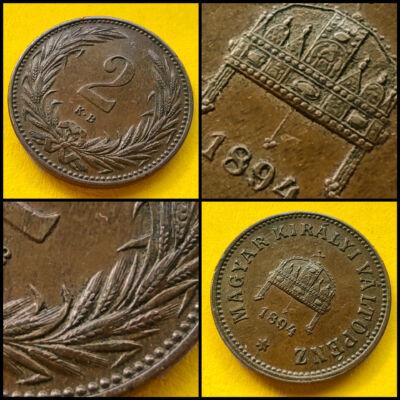 1894 2 fillér réz érme
