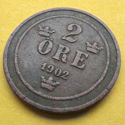1902 2 Öre Svéd réz érme
