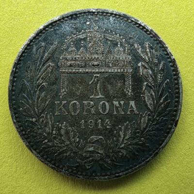 1914 1 korona ezüst érme