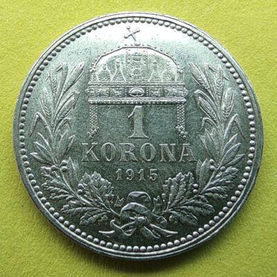 1915 1 korona ezüst érme