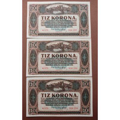 1920 10 korona 3 db-os hajtatlan bankjegy sor. Sorszámkövető pár és sorközeli db Numizmatika - bankjegyek