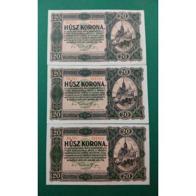 1920 20 korona 3 db-os hajtatlan bankjegy sor. Sorszámkövető pár és sorközeli db Numizmatika - bankjegyek