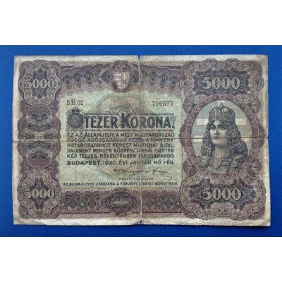 1920 5000 Korona Államjegy Numizmatika - bankjegyek