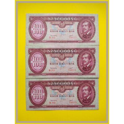 1949 100 forint 3 db XF sorszámkövető bankjegy. Középen törésmentes hajlás! Numizmatika - bankjegyek