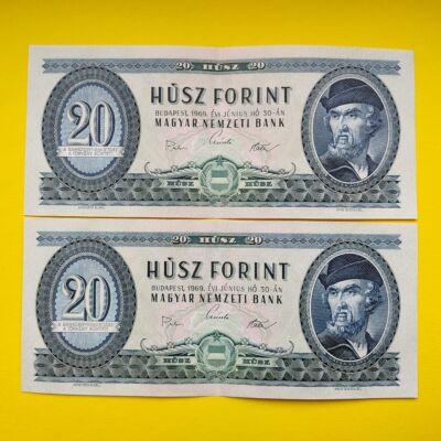 1969 20 forint sorszámkövető bakjegy pár Numizmatika - bankjegyek